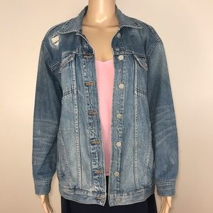 Madewell Denim Jacket Distressed Blue Jean M